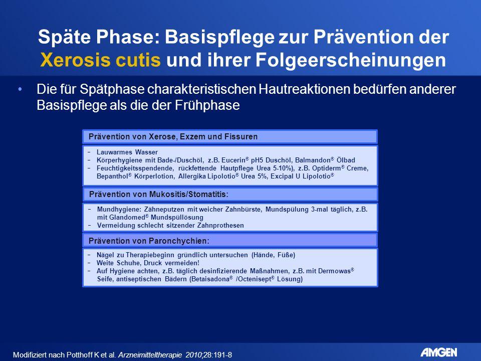 Späte Phase: Basispflege zur Prävention der Xerosis cutis und ihrer Folgeerscheinungen