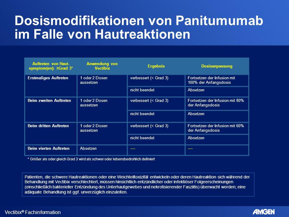 Dosismodifikationen von Panitumumab im Falle von Hautreaktionen