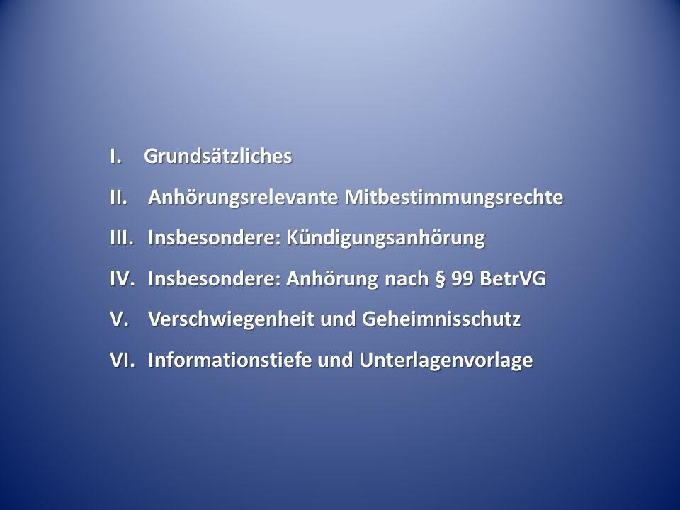 I. Grundsätzliches Anhörungsrelevante Mitbestimmungsrechte. Insbesondere: Kündigungsanhörung. Insbesondere: Anhörung nach § 99 BetrVG.