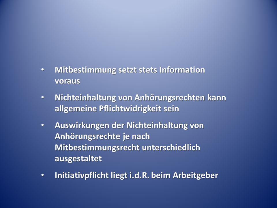 Mitbestimmung setzt stets Information voraus