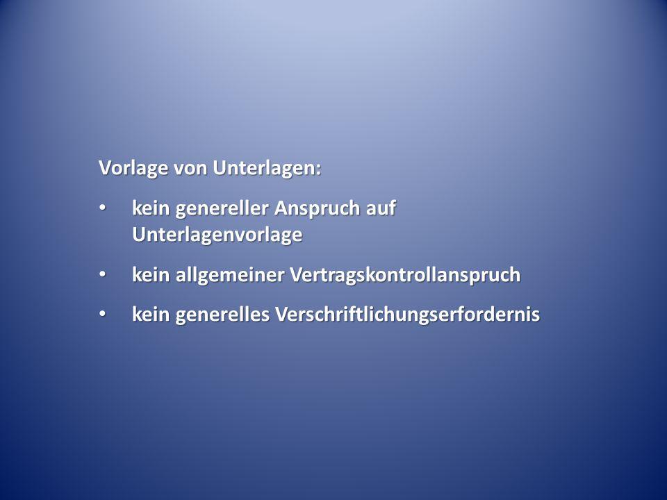 Vorlage von Unterlagen: