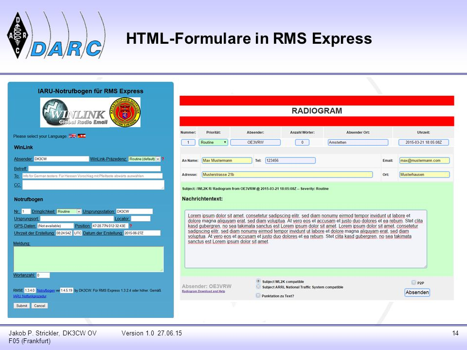 HTML-Formulare in RMS Express