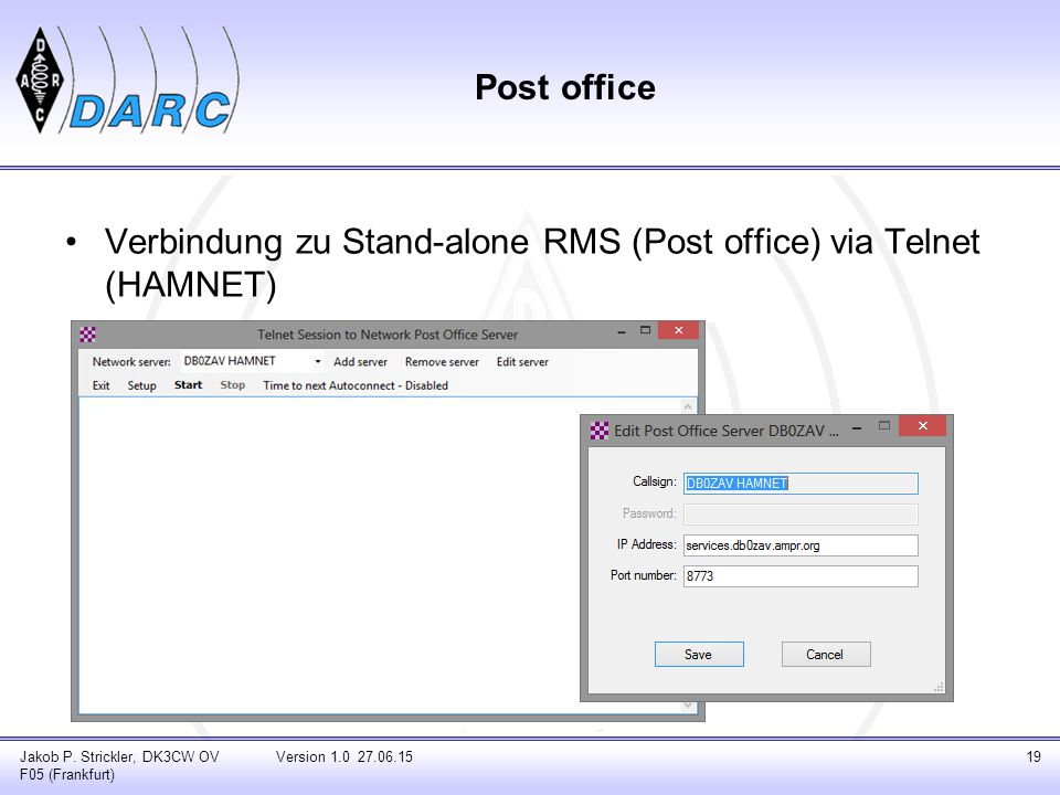Verbindung zu Stand-alone RMS (Post office) via Telnet (HAMNET)