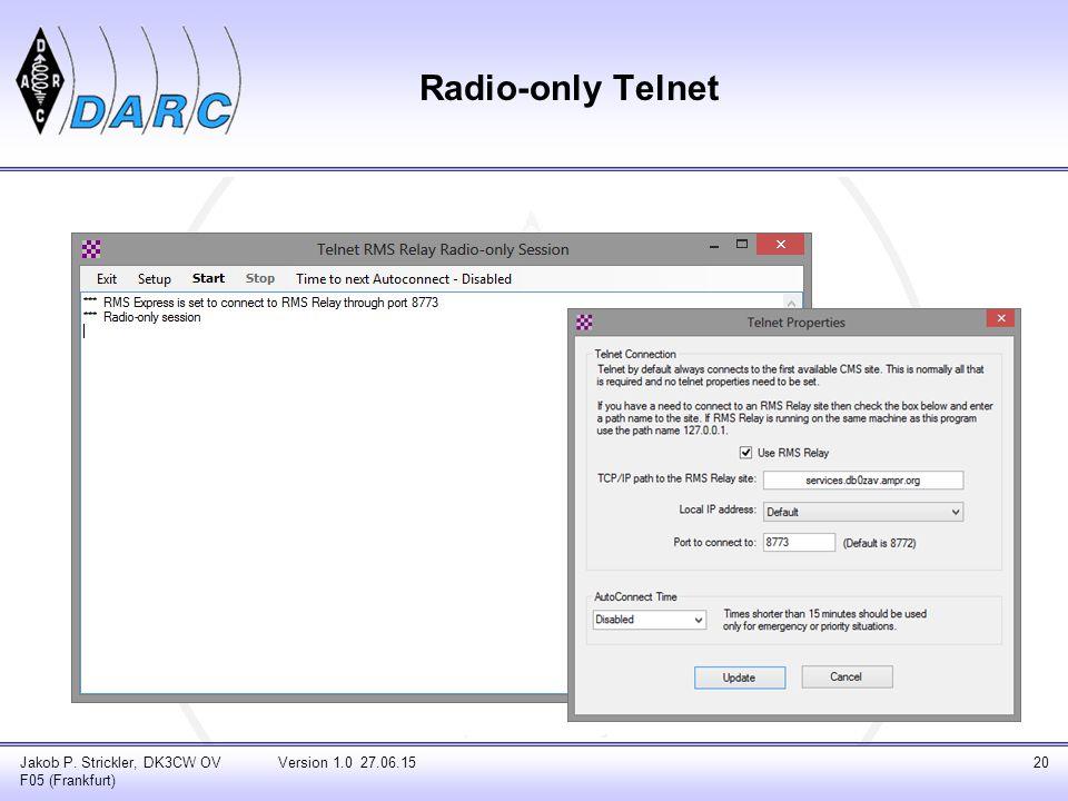 Radio-only Telnet Jakob P. Strickler, DK3CW OV F05 (Frankfurt)