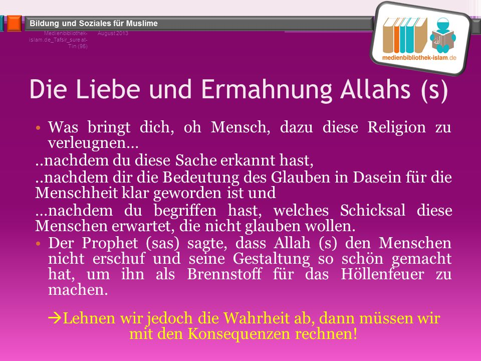 Die Liebe und Ermahnung Allahs (s)