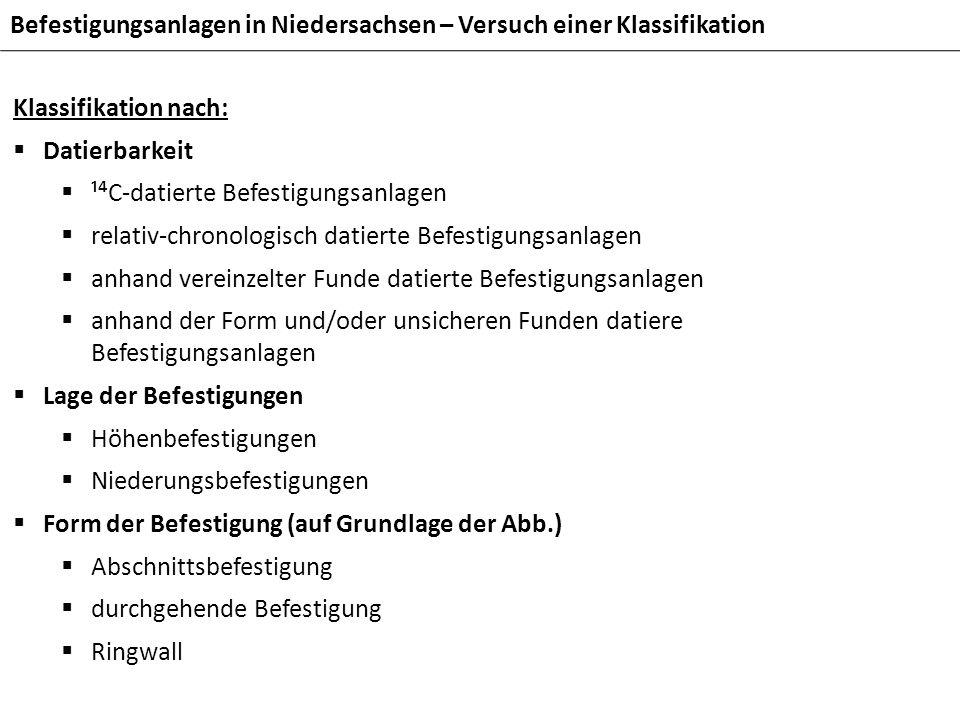 Befestigungsanlagen in Niedersachsen – Versuch einer Klassifikation