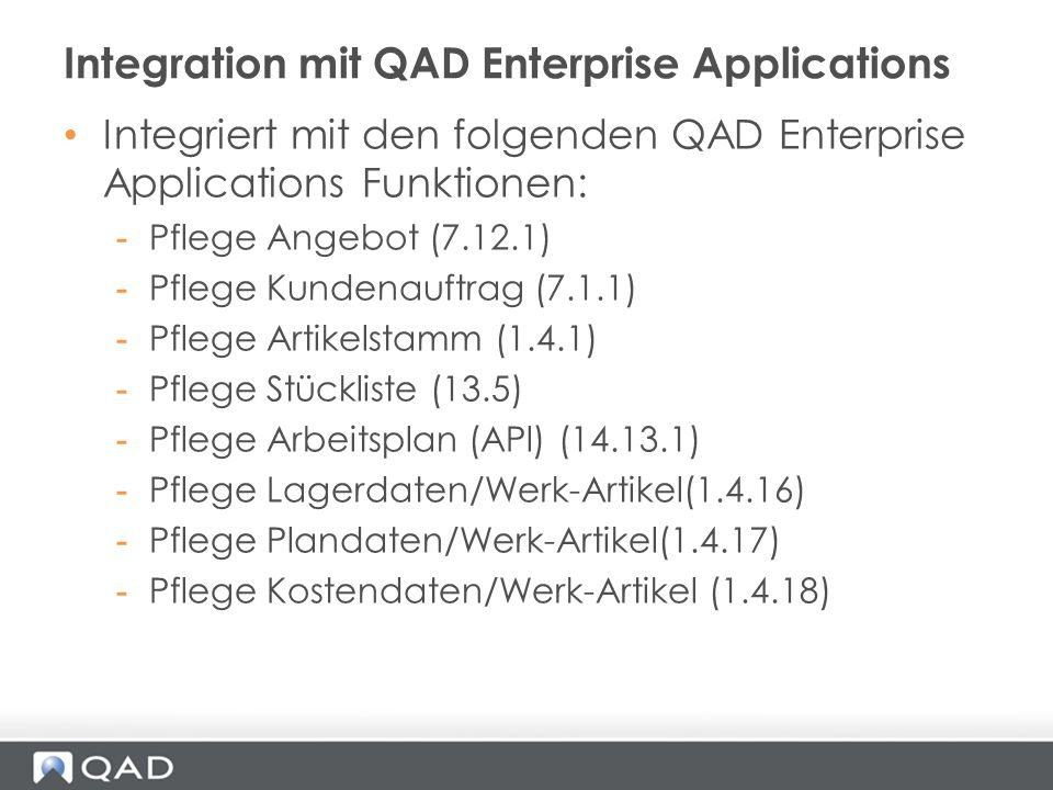 Integration mit QAD Enterprise Applications
