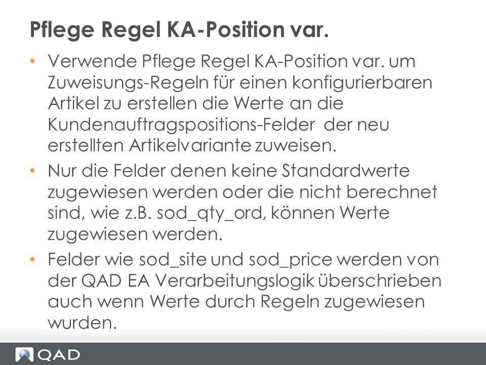 Pflege Regel KA-Position var.