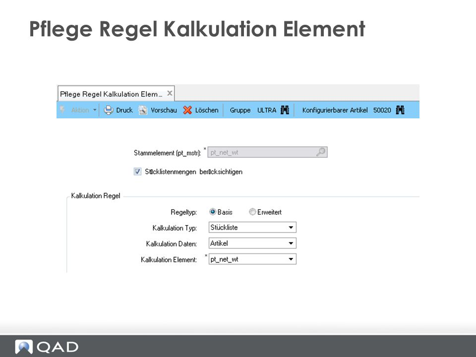 Pflege Regel Kalkulation Element
