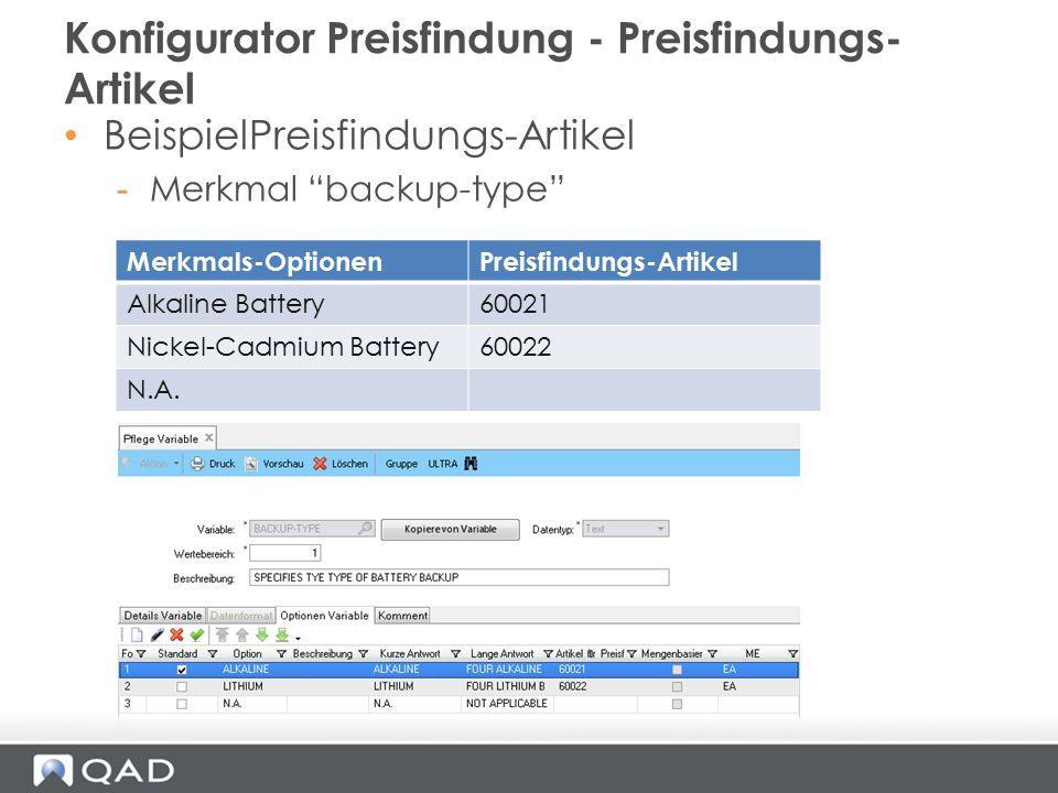 Konfigurator Preisfindung - Preisfindungs-Artikel
