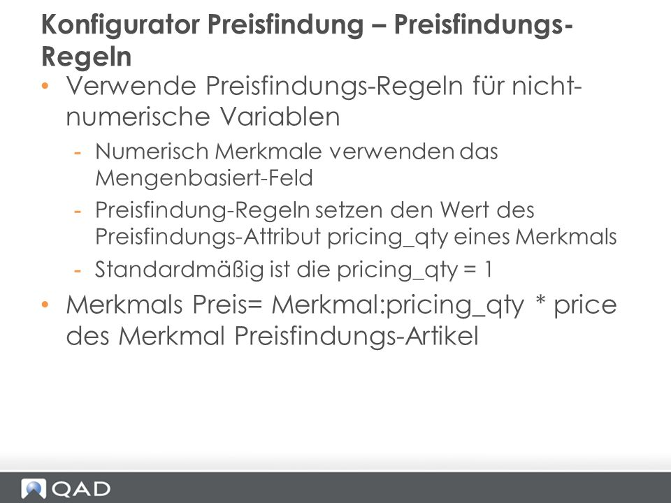 Konfigurator Preisfindung – Preisfindungs-Regeln