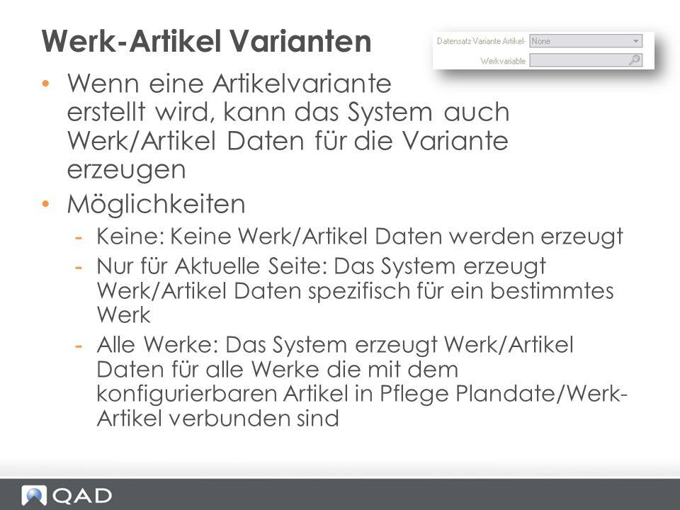 Werk-Artikel Varianten