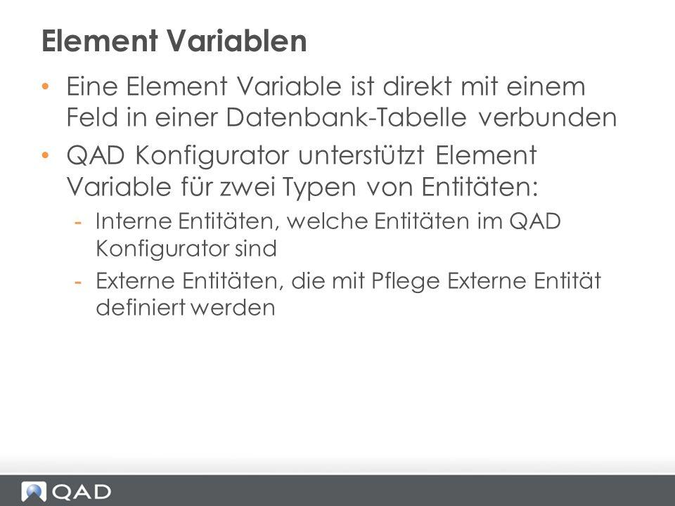 Element Variablen Eine Element Variable ist direkt mit einem Feld in einer Datenbank-Tabelle verbunden.