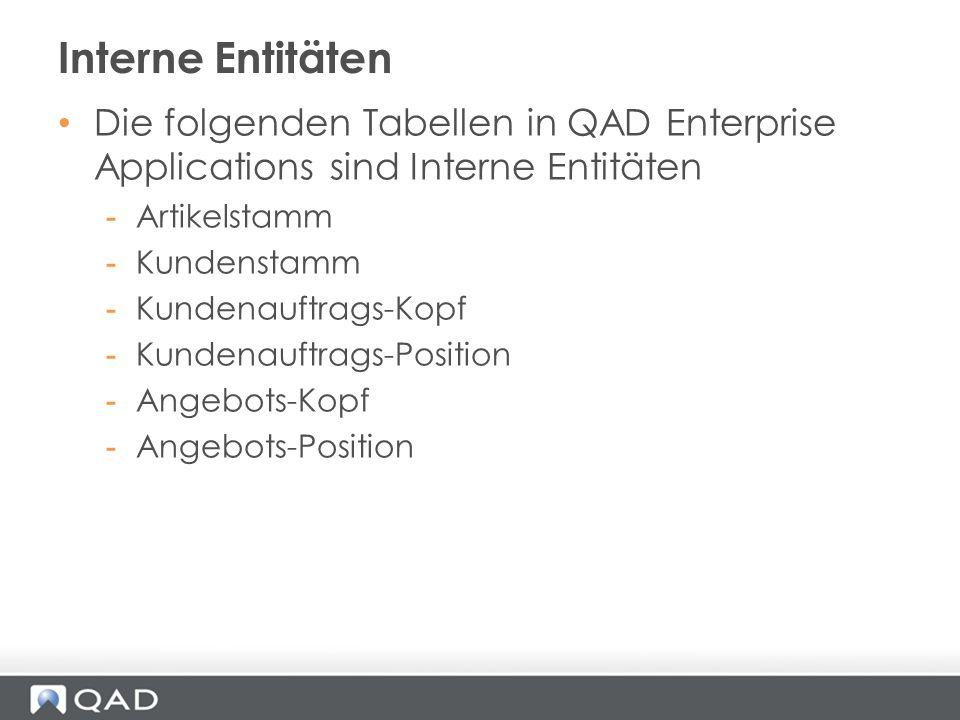 Interne Entitäten Die folgenden Tabellen in QAD Enterprise Applications sind Interne Entitäten. Artikelstamm.