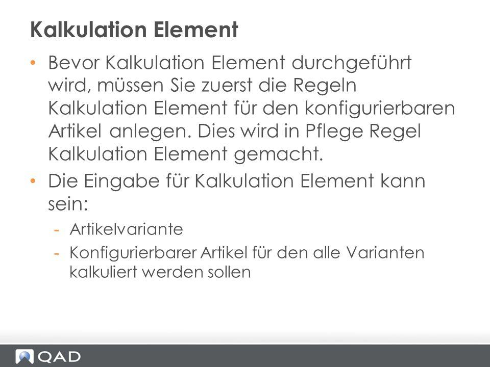 Kalkulation Element
