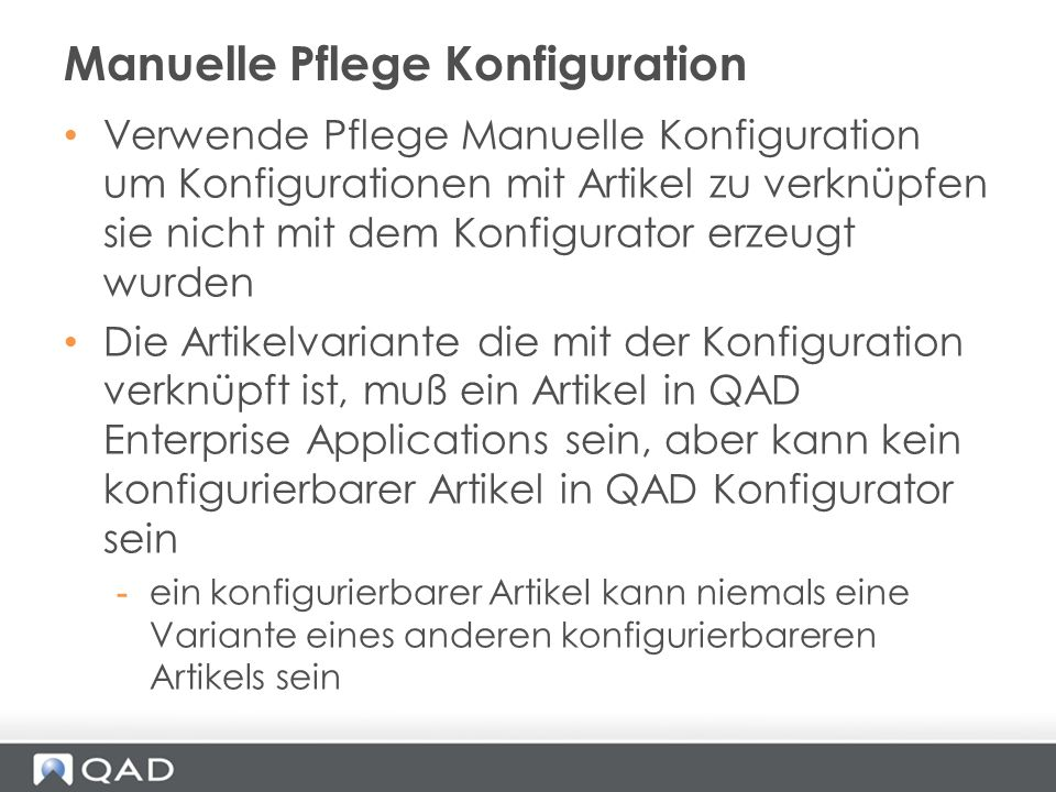 Manuelle Pflege Konfiguration