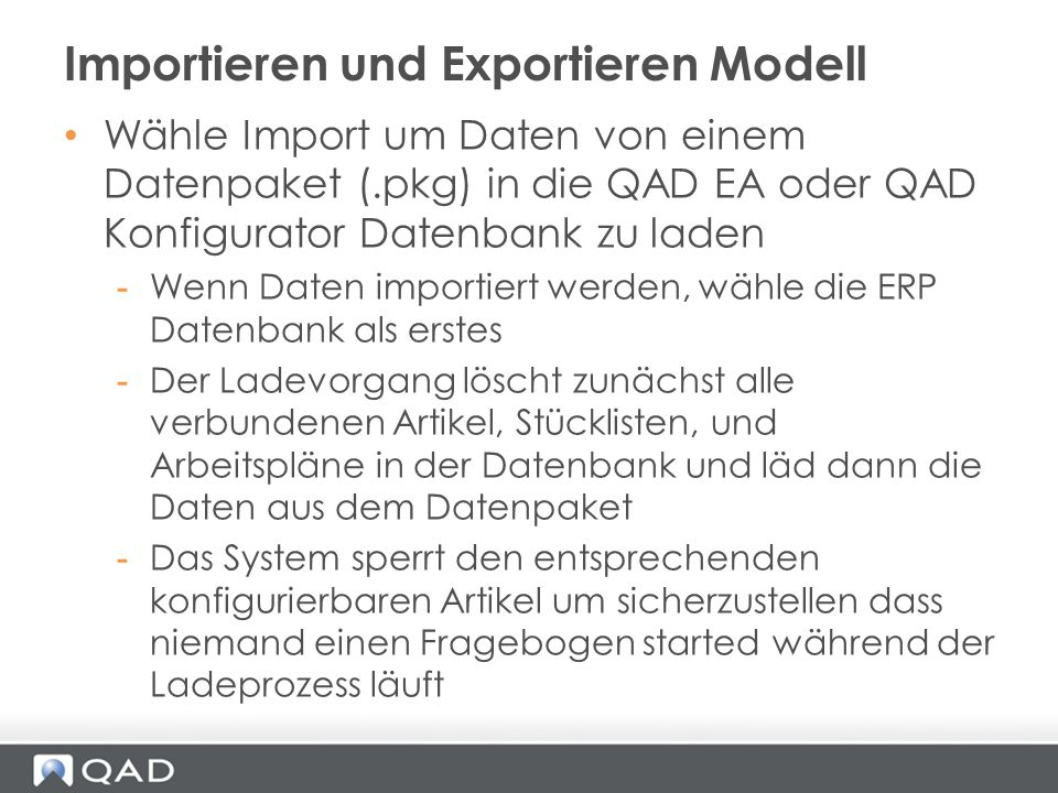 Importieren und Exportieren Modell