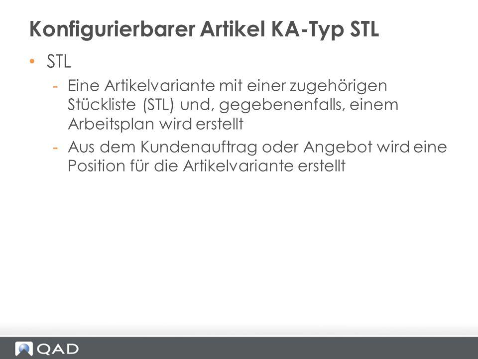 Konfigurierbarer Artikel KA-Typ STL