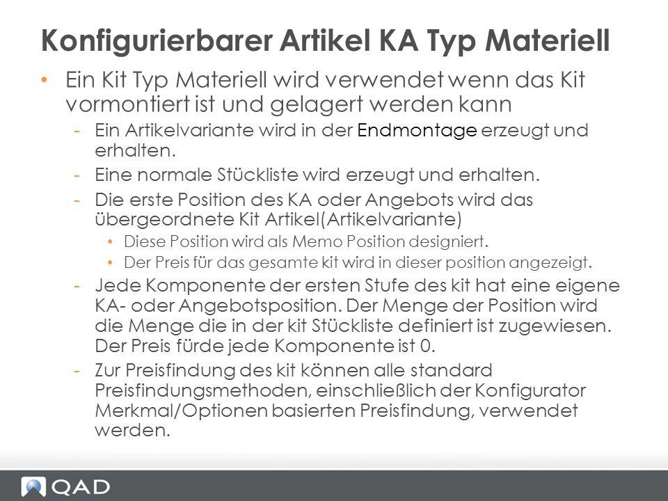 Konfigurierbarer Artikel KA Typ Materiell