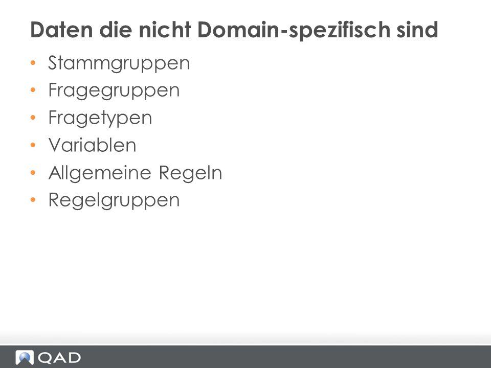 Daten die nicht Domain-spezifisch sind