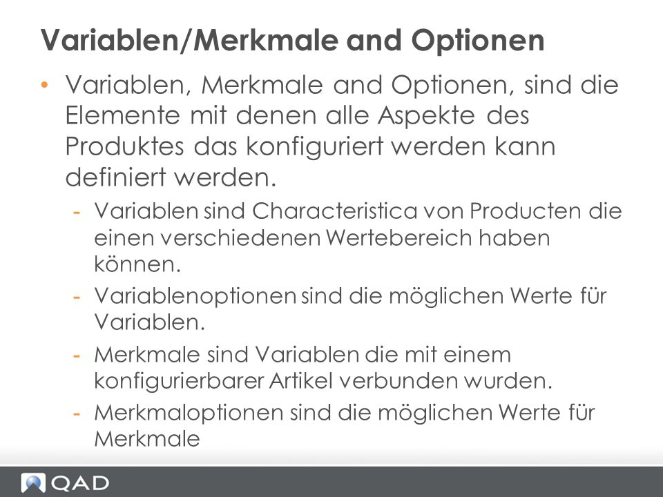 Variablen/Merkmale and Optionen