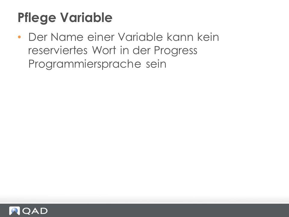 Pflege Variable Der Name einer Variable kann kein reserviertes Wort in der Progress Programmiersprache sein.