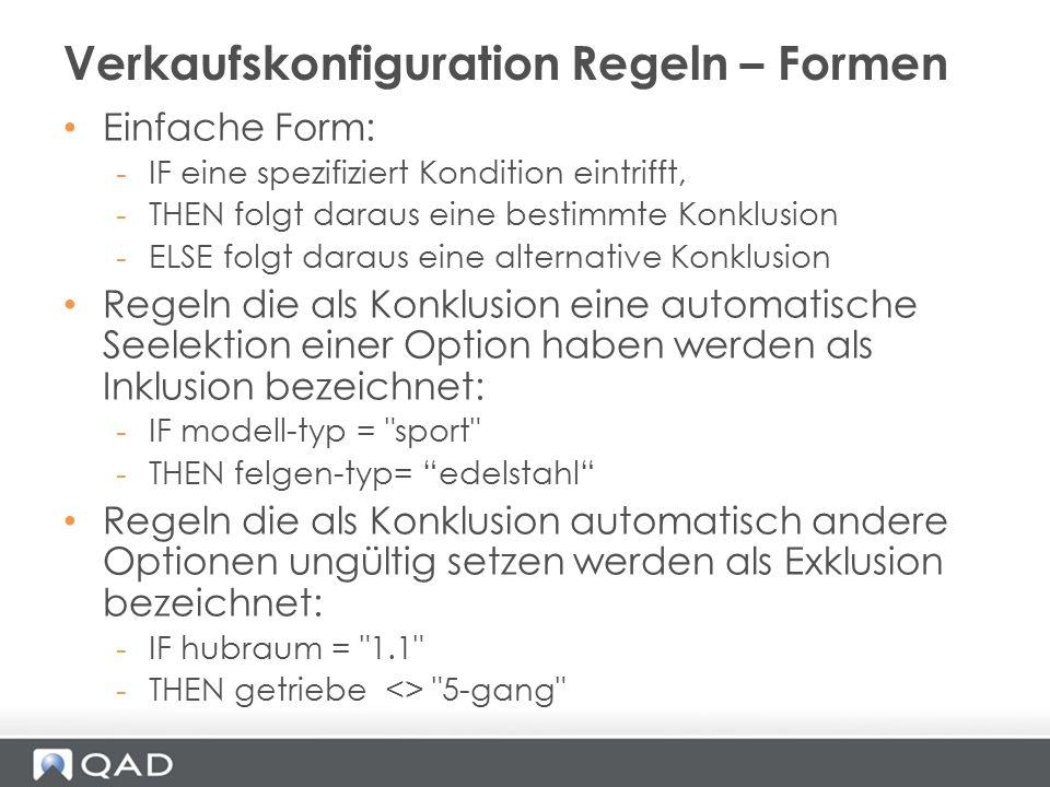 Verkaufskonfiguration Regeln – Formen
