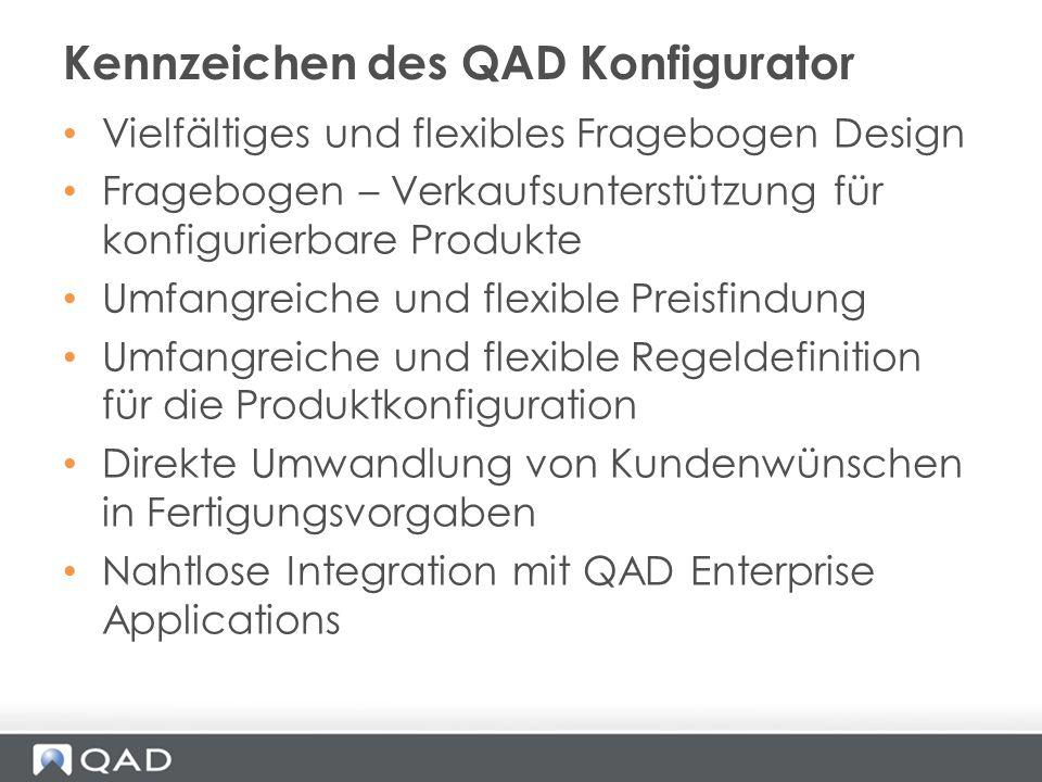 Kennzeichen des QAD Konfigurator