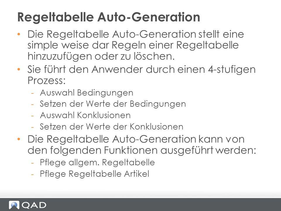 Regeltabelle Auto-Generation