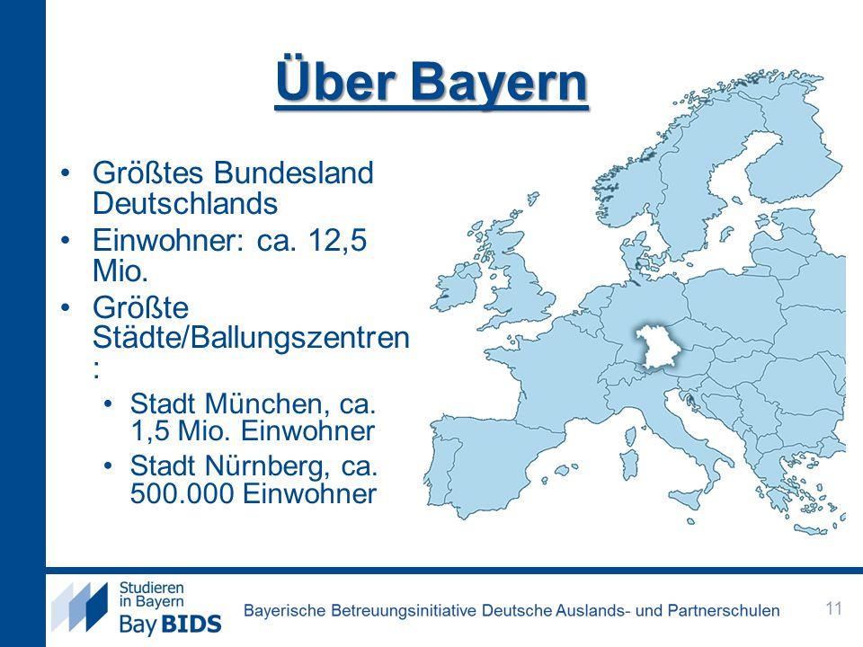 Über Bayern Größtes Bundesland Deutschlands Einwohner: ca. 12,5 Mio.