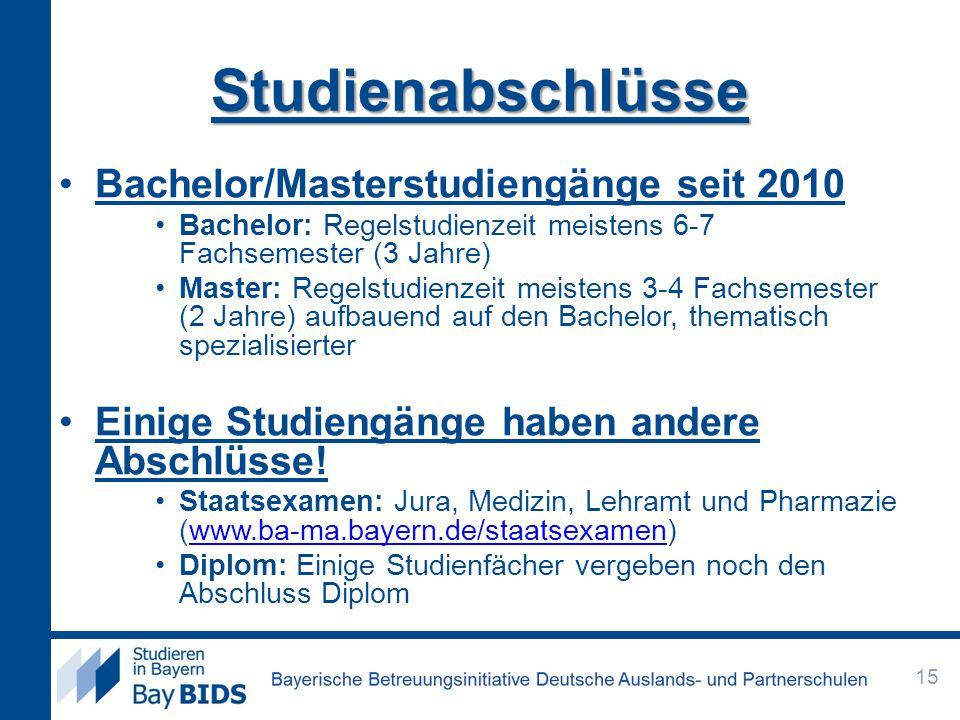 Studienabschlüsse Bachelor/Masterstudiengänge seit 2010