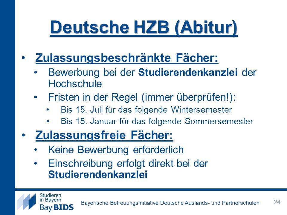 Deutsche HZB (Abitur) Zulassungsbeschränkte Fächer:
