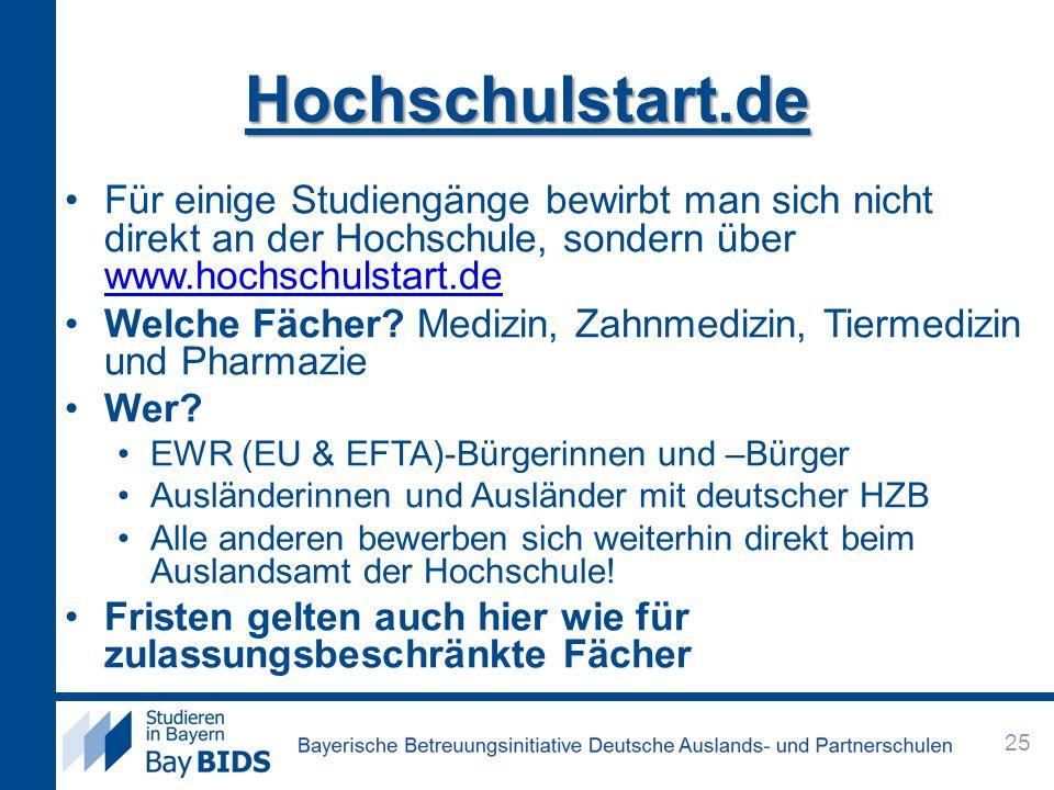 Hochschulstart.de Für einige Studiengänge bewirbt man sich nicht direkt an der Hochschule, sondern über www.hochschulstart.de.