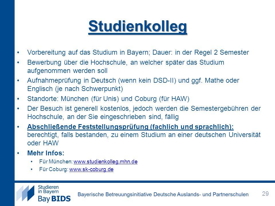 Studienkolleg Vorbereitung auf das Studium in Bayern; Dauer: in der Regel 2 Semester.