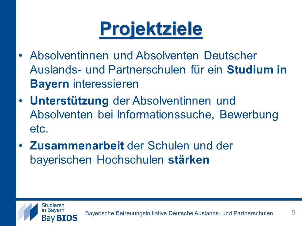 Projektziele Absolventinnen und Absolventen Deutscher Auslands- und Partnerschulen für ein Studium in Bayern interessieren.