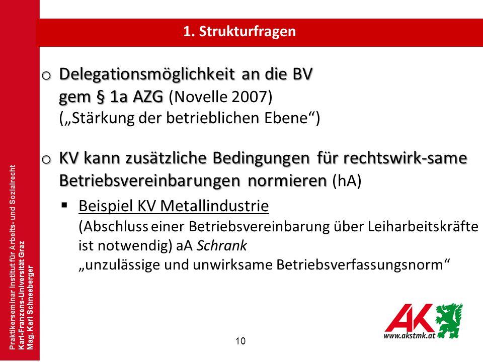 """1. Strukturfragen Delegationsmöglichkeit an die BV gem § 1a AZG (Novelle 2007) (""""Stärkung der betrieblichen Ebene )"""