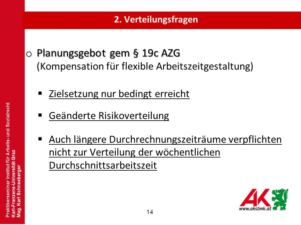 2. Verteilungsfragen Planungsgebot gem § 19c AZG (Kompensation für flexible Arbeitszeitgestaltung)