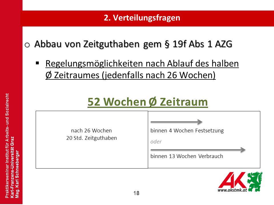52 Wochen Ø Zeitraum Abbau von Zeitguthaben gem § 19f Abs 1 AZG