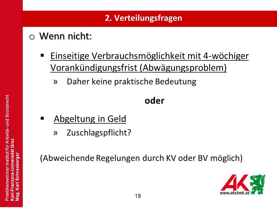 2. Verteilungsfragen Wenn nicht: Einseitige Verbrauchsmöglichkeit mit 4-wöchiger Vorankündigungsfrist (Abwägungsproblem)