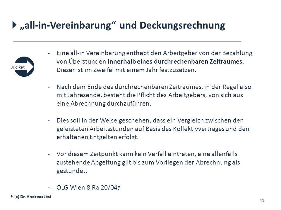 """  """"all-in-Vereinbarung und Deckungsrechnung"""