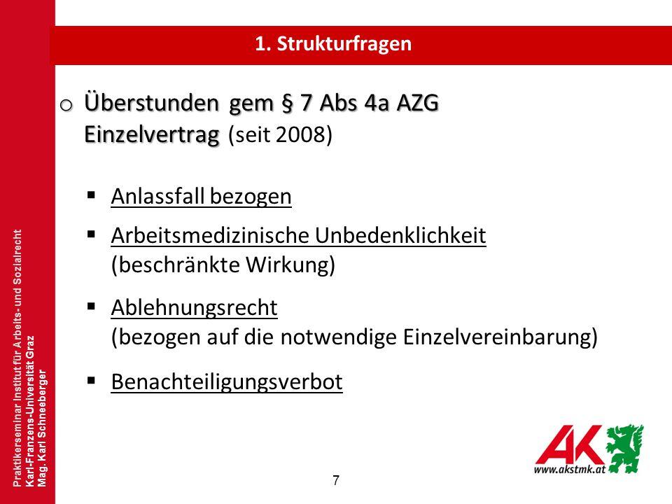 Überstunden gem § 7 Abs 4a AZG Einzelvertrag (seit 2008)