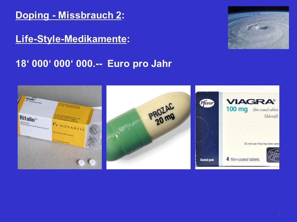 Doping - Missbrauch 2: Life-Style-Medikamente: 18' 000' 000' 000.-- Euro pro Jahr