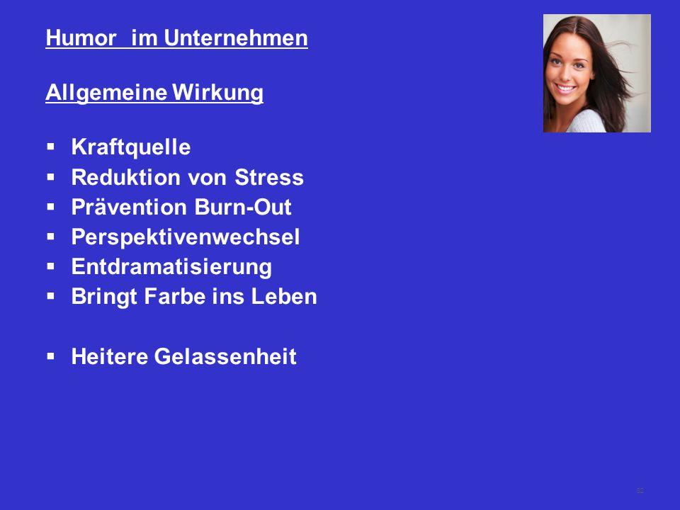 Humor im Unternehmen Allgemeine Wirkung. Kraftquelle. Reduktion von Stress. Prävention Burn-Out.