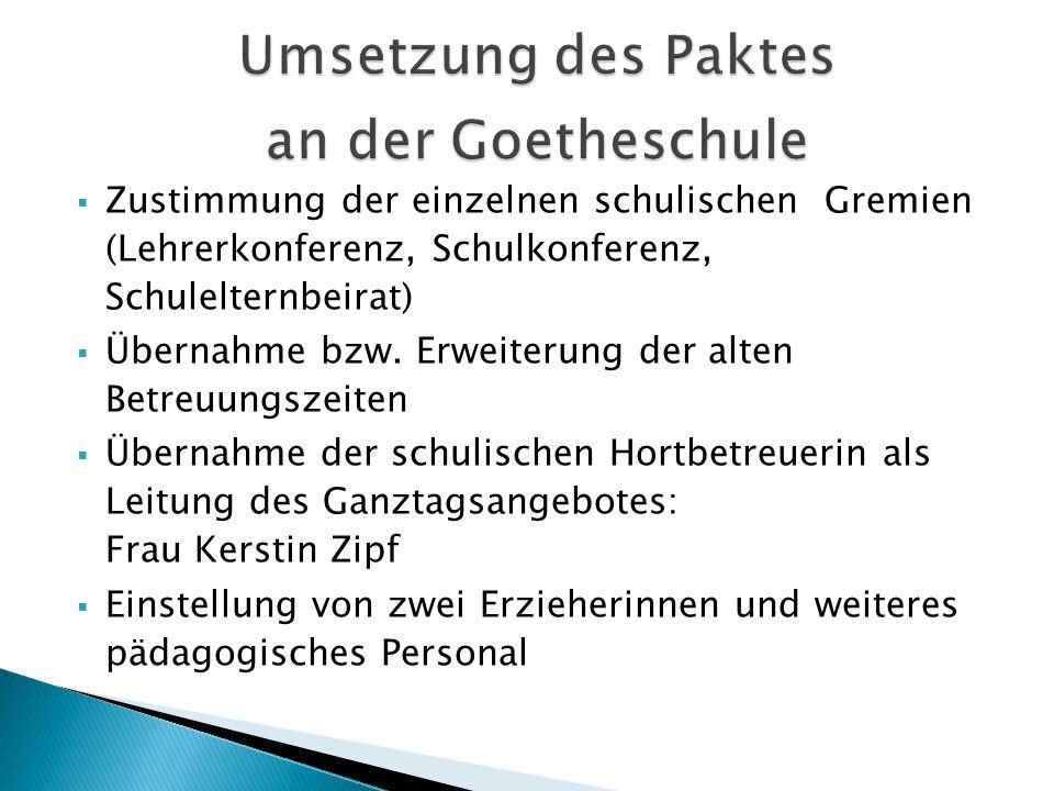 Umsetzung des Paktes an der Goetheschule