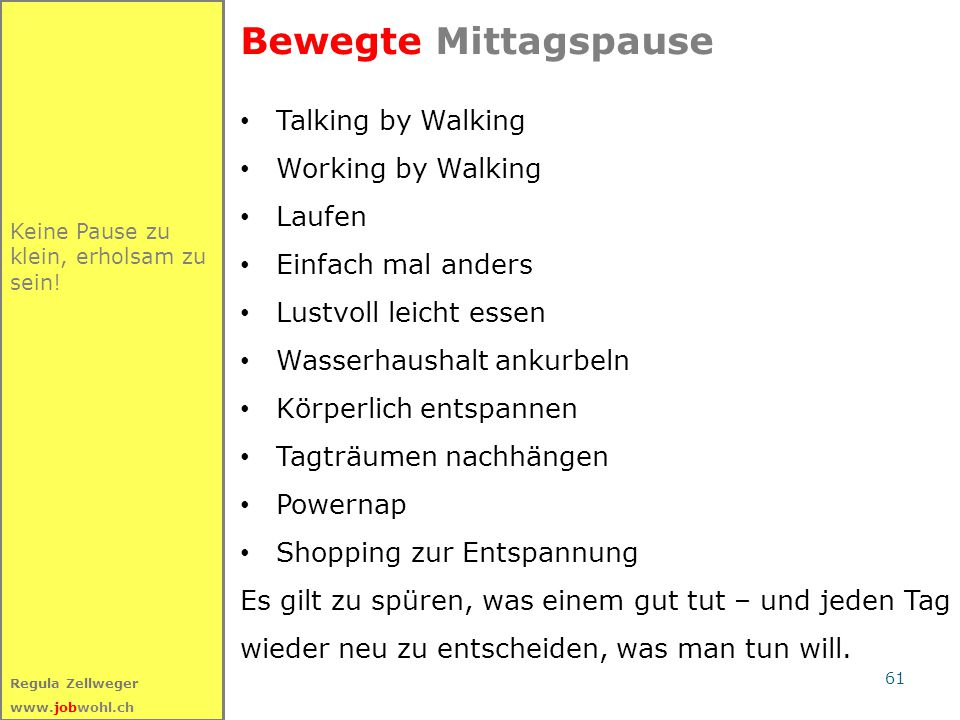 Bewegte Mittagspause Talking by Walking Working by Walking Laufen