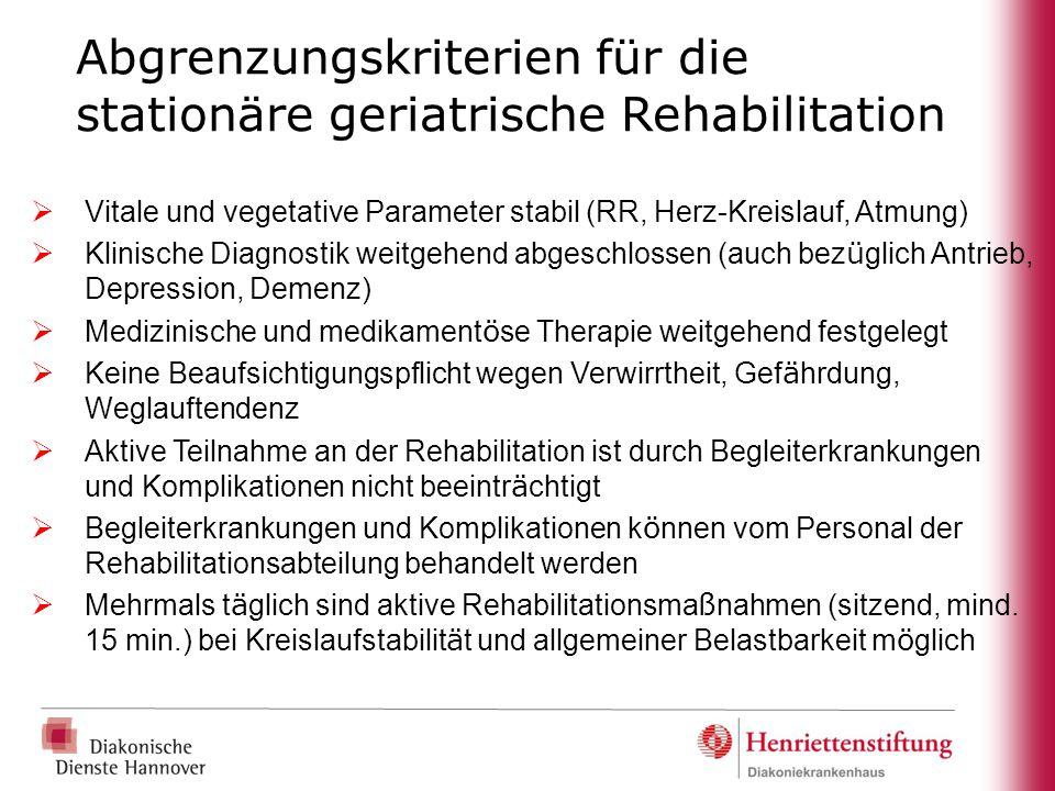 Abgrenzungskriterien für die stationäre geriatrische Rehabilitation