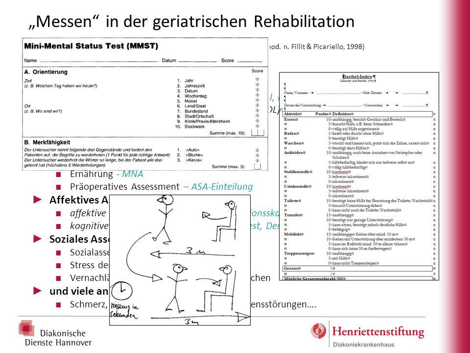 """""""Messen in der geriatrischen Rehabilitation Geriatrisches Assessments (Auswahl, mod. n. Fillit & Picariello, 1998)"""