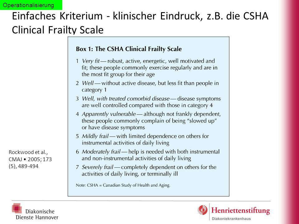 Operationalisierung Einfaches Kriterium - klinischer Eindruck, z.B. die CSHA Clinical Frailty Scale.