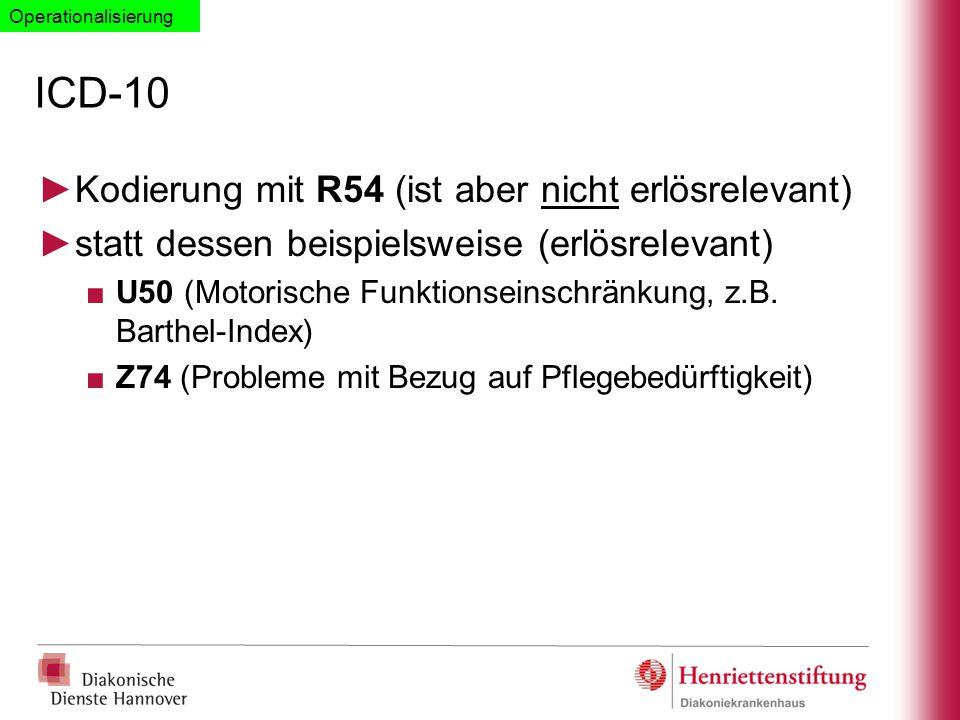 ICD-10 Kodierung mit R54 (ist aber nicht erlösrelevant)
