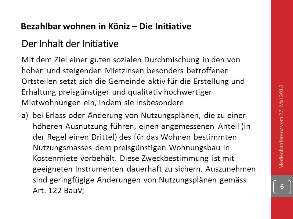 Der Inhalt der Initiative